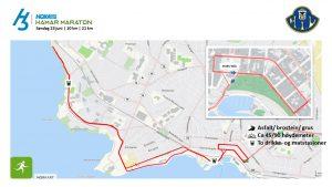 Løpetrasè 10 og 21 km